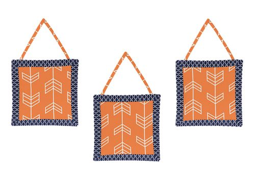 Orange and Navy Arrow Wall Hanging Accessories by Sweet Jojo Designs - Click to enlarge