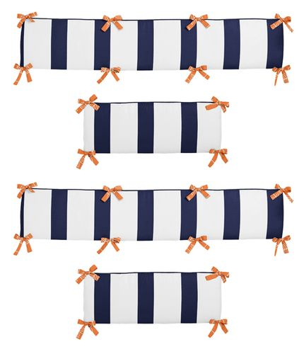 Orange and Navy Blue Arrow Collection Crib Bumper by Sweet Jojo Designs - Click to enlarge
