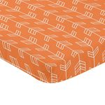 Orange and White Baby Fitted Mini Portable Crib Sheet for Arrow Collection by Sweet Jojo Designs