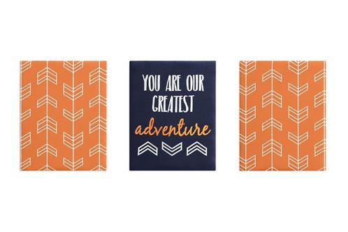 Orange and Navy Blue Woodland Wall Art Room Decor Hangings for Baby, Nursery, Kids and Childrens Arrow Collection by Sweet Jojo Designs - Set of 3 - Click to enlarge