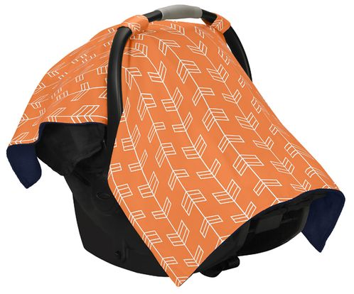 Orange and White Arrow Baby Infant Car Seat Carrier Stroller Cover by Sweet Jojo Designs - Click to enlarge