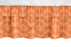 Orange and White Arrow Girl Ruffled Tiered Baby Crib Bed Skirt Dust Ruffle for Arrow Collection by Sweet Jojo Designs