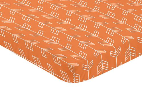 Orange and White Baby Fitted Mini Portable Crib Sheet for Arrow Collection by Sweet Jojo Designs - Click to enlarge