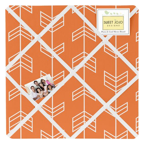 Orange and White Fabric Memory/Memo Photo Bulletin Board by Sweet Jojo Designs - Click to enlarge