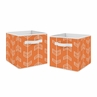 Orange Arrow Foldable Fabric Storage Cube Bins Boxes Organizer Toys Kids Baby Childrens for Collection by Sweet Jojo Designs - Set of 2