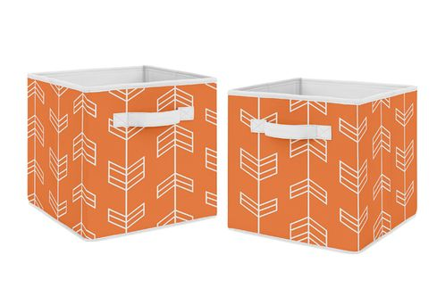 Orange Arrow Foldable Fabric Storage Cube Bins Boxes Organizer Toys Kids Baby Childrens for Collection by Sweet Jojo Designs - Set of 2 - Click to enlarge