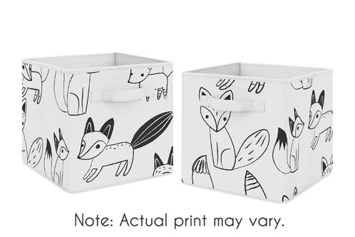Organizer Storage Bins for Black and White Fox Collection by Sweet Jojo Designs - Set of 2 - Click to enlarge