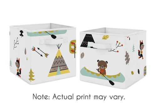 Outdoor Adventure Foldable Fabric Storage Cube Bins Boxes Organizer Toys Kids Baby Childrens for Collection by Sweet Jojo Designs - Set of 2 - Click to enlarge