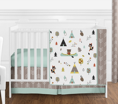 Outdoor Adventure Nature Baby Bedding 4pc Girls Or Boys