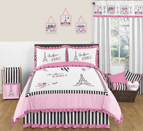 Paris 3pc Childrens and Teen Full / Queen Bedding Set by Sweet Jojo Designs - Click to enlarge