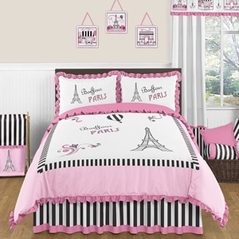 Paris 3pc Childrens and Teen Full / Queen Bedding Set by Sweet Jojo Designs
