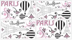 Pink, Black and White Paris Peel and Stick Wall Decal Stickers Art Nursery Decor by Sweet Jojo Designs - Set of 4 Sheets