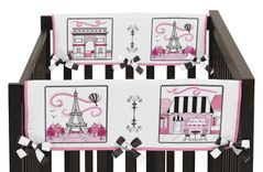 Paris Baby Crib Side Rail Guard Covers by Sweet Jojo Designs - Set of 2