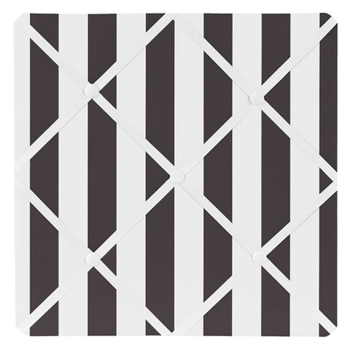Paris Black and White Stripe Fabric Memory/Memo Photo Bulletin Board by Sweet Jojo Designs - Click to enlarge