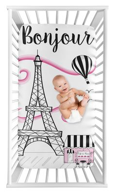 Paris Girl Fitted Crib Sheet Baby or Toddler Bed Nursery Photo Op by Sweet Jojo Designs - Hot Pink, Black and White Eiffel Tower Striped Hot Air Balloon