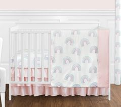 Pastel Rainbow Baby Girl Nursery Crib Bedding Set without Bumper by Sweet Jojo Designs - 4 pieces - Blush Pink, Purple, Teal, Blue and White