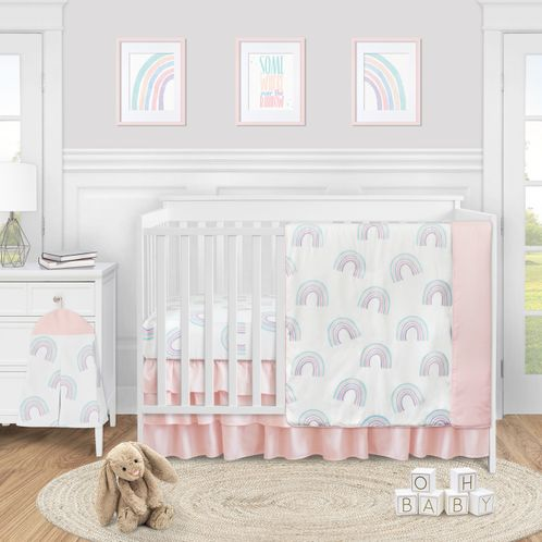 Pastel Rainbow Baby Girl Nursery Crib Bedding Set without Bumper by Sweet Jojo Designs - 4 pieces - Blush Pink, Purple, Teal, Blue and White - Click to enlarge