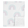Pastel Rainbow Baby Girl Receiving Security Swaddle Blanket for Newborn or Toddler Nursery Car Seat Stroller Soft Minky by Sweet Jojo Designs - Blush Pink, Purple, Teal, Blue and White