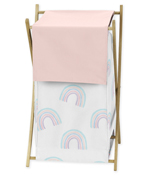 Pastel Rainbow Baby Kid Clothes Laundry Hamper by Sweet Jojo Designs - Blush Pink, Purple, Teal, Blue and White
