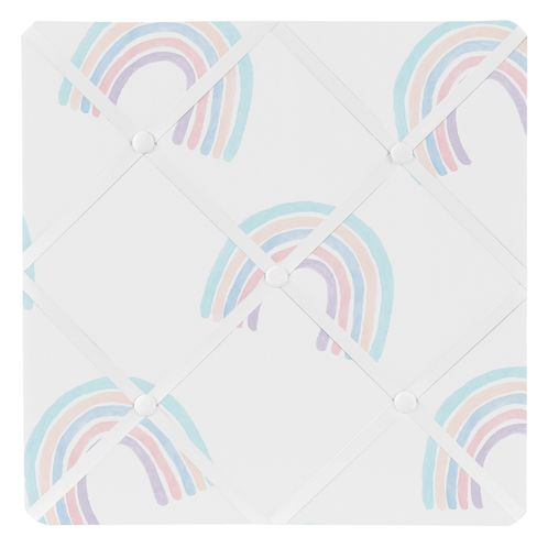 Pastel Rainbow Fabric Memory Memo Photo Bulletin Board by Sweet Jojo Designs - Blush Pink, Purple, Teal, Blue and White - Click to enlarge