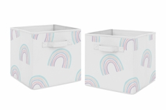 Pastel Rainbow Foldable Fabric Storage Cube Bins Boxes Organizer Toys Kids Baby Childrens by Sweet Jojo Designs - Set of 2 - Blush Pink, Purple, Teal, Blue and White