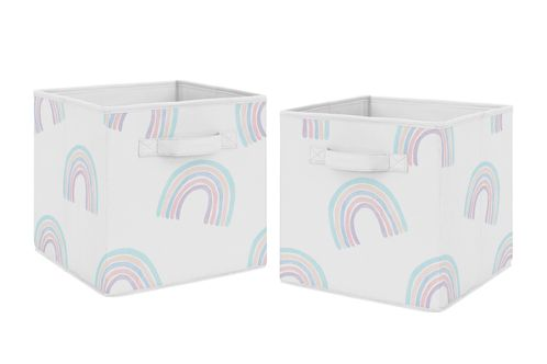 Pastel Rainbow Foldable Fabric Storage Cube Bins Boxes Organizer Toys Kids Baby Childrens by Sweet Jojo Designs - Set of 2 - Blush Pink, Purple, Teal, Blue and White - Click to enlarge