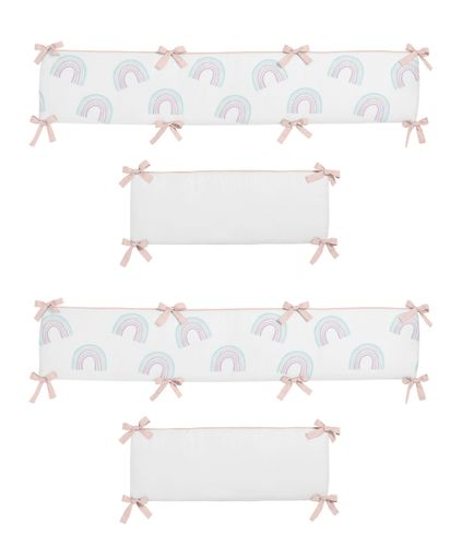 Pastel Rainbow Girl Baby Nursery Crib Bumper Pad by Sweet Jojo Designs - Blush Pink, Purple, Teal, Blue and White - Click to enlarge