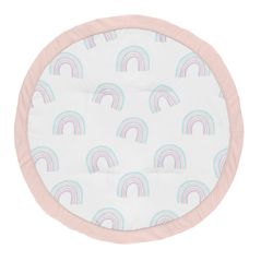 Pastel Rainbow Girl Baby Playmat Tummy Time Infant Play Mat by Sweet Jojo Designs - Blush Pink, Purple, Teal, Blue and White
