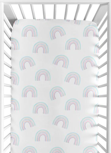 Pastel Rainbow Girl Fitted Crib Sheet Baby or Toddler Bed Nursery by Sweet Jojo Designs - Blush Pink, Purple, Teal, Blue and White - Click to enlarge