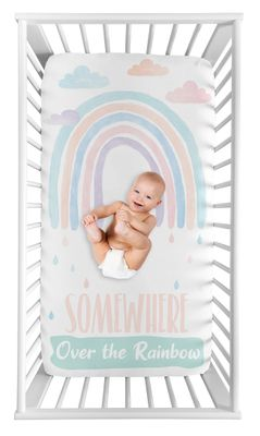Pastel Rainbow Girl Fitted Crib Sheet Baby or Toddler Bed Nursery Photo Op by Sweet Jojo Designs - Blush Pink, Purple, Teal, Blue and White Somewhere Over the Rainbow