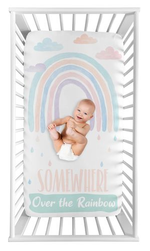 Pastel Rainbow Girl Fitted Crib Sheet Baby or Toddler Bed Nursery Photo Op by Sweet Jojo Designs - Blush Pink, Purple, Teal, Blue and White Somewhere Over the Rainbow - Click to enlarge