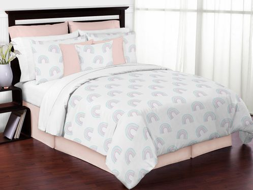 Pastel Rainbow Girl Full / Queen Bedding Comforter Set Kids Childrens Size by Sweet Jojo Designs - 3 pieces - Blush Pink, Purple, Teal, Blue and White - Click to enlarge