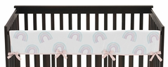 Pastel Rainbow Girl Long Front Crib Rail Guard Baby Teething Cover Protector Wrap by Sweet Jojo Designs - Blush Pink, Purple, Teal, Blue and White