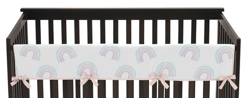 Pastel Rainbow Girl Long Front Crib Rail Guard Baby Teething Cover Protector Wrap by Sweet Jojo Designs - Blush Pink, Purple, Teal, Blue and White - Click to enlarge