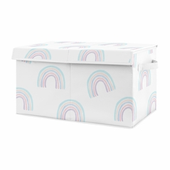 Pastel Rainbow Girl Small Fabric Toy Bin Storage Box Chest For Baby Nursery or Kids Room by Sweet Jojo Designs - Blush Pink, Purple, Teal, Blue and White