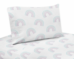 Pastel Rainbow Twin Sheet Set by Sweet Jojo Designs - 3 piece set - Blush Pink, Purple, Teal, Blue and White
