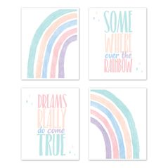 Pastel Rainbow Wall Art Prints Room Decor for Baby, Nursery, and Kids by Sweet Jojo Designs - Set of 4 - Blush Pink, Purple, Teal, Blue and White Somewhere Over the Rainbow