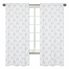 Pastel Rainbow Window Treatment Panels Curtains by Sweet Jojo Designs - Set of 2 - Blush Pink, Purple, Teal, Blue and White