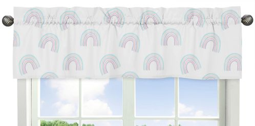 Pastel Rainbow Window Treatment Valance by Sweet Jojo Designs - Blush Pink, Purple, Teal, Blue and White - Click to enlarge