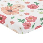 Peach and Green Baby Fitted Mini Portable Crib Sheet for Watercolor Floral Collection by Sweet Jojo Designs - Pink Rose Flower