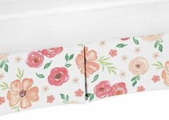 Peach and Green Baby Girl Pleated Crib Bed Skirt Dust Ruffle for Watercolor Floral Collection by Sweet Jojo Designs - Pink Rose Flower