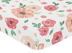 Peach and Green Baby or Toddler Fitted Crib Sheet for Watercolor Floral Collection by Sweet Jojo Designs - Pink Rose Flower