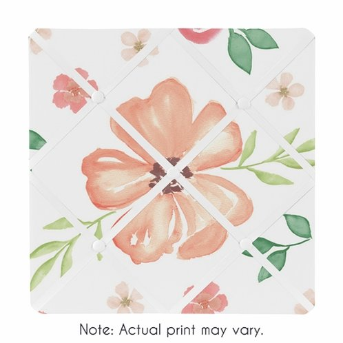 Peach and Green Fabric Memory Memo Photo Bulletin Board for Watercolor Floral Collection by Sweet Jojo Designs - Pink Rose Flower - Click to enlarge
