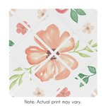 Peach and Green Fabric Memory Memo Photo Bulletin Board for Watercolor Floral Collection by Sweet Jojo Designs - Pink Rose Flower