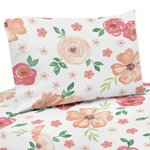 Peach and Green Queen Sheet Set for Watercolor Floral Collection by Sweet Jojo Designs - 4 piece set - Pink Rose Flower