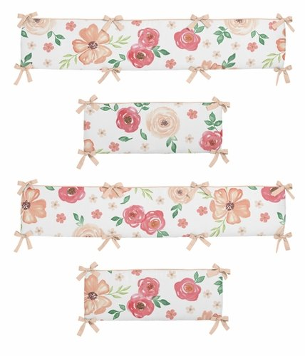 Peach and Green Shabby Chic Baby Crib Bumper Pad for Watercolor Floral Collection by Sweet Jojo Designs - Pink Rose Flower - Click to enlarge