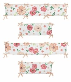 Peach and Green Shabby Chic Baby Crib Bumper Pad for Watercolor Floral Collection by Sweet Jojo Designs - Pink Rose Flower