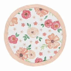 Peach and Green Shabby Chic Playmat Tummy Time Baby and Infant Play Mat for Watercolor Floral Collection by Sweet Jojo Designs - Pink Rose Flower