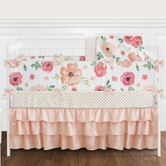 Peach and Green Shabby Chic Watercolor Floral Baby Girl Crib Bedding Set with Bumper by Sweet Jojo Designs - 9 pieces - Pink Rose Flower Polka Dot