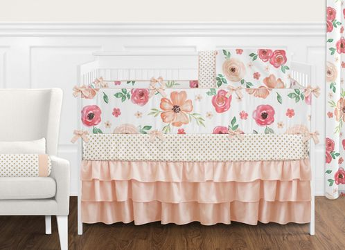 Peach and Green Shabby Chic Watercolor Floral Baby Girl Crib Bedding Set with Bumper by Sweet Jojo Designs - 9 pieces - Pink Rose Flower Polka Dot - Click to enlarge